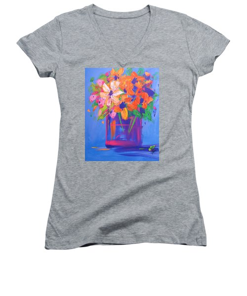 Loosey Goosey Flowers Women's V-Neck T-Shirt