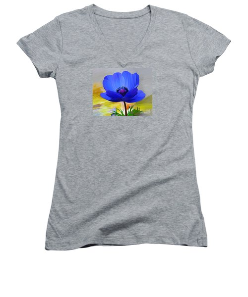 Women's V-Neck T-Shirt (Junior Cut) featuring the painting Lord Lieutenant by Patricia Griffin Brett