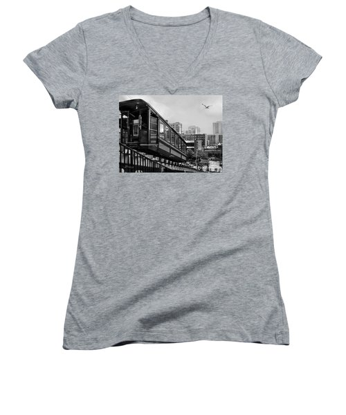 Los Angeles Angels Flight.bw Women's V-Neck T-Shirt (Junior Cut) by Jennie Breeze