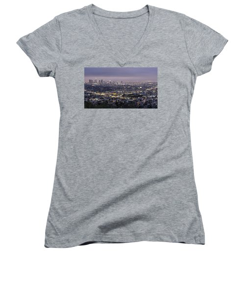Los Angeles At Night From The Griffith Park Observatory Women's V-Neck