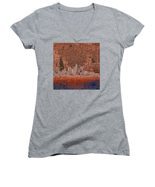 Los Angeles Skyline Abstract 7 Women's V-Neck T-Shirt (Junior Cut) by Bekim Art
