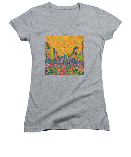Los Angeles Skyline Abstract Women's V-Neck T-Shirt (Junior Cut) by Bekim Art