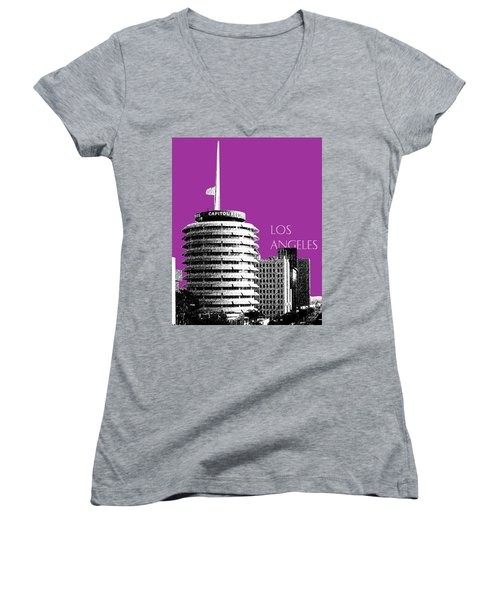 Los Angeles Skyline Capitol Records - Plum Women's V-Neck (Athletic Fit)