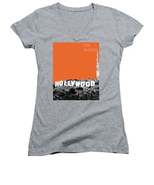 Los Angeles Skyline Hollywood - Coral Women's V-Neck (Athletic Fit)