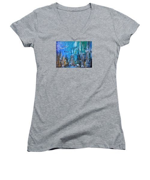 Women's V-Neck T-Shirt (Junior Cut) featuring the painting Lost City by Arturas Slapsys