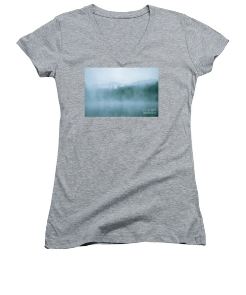 Lost In Fog Over Lake Women's V-Neck T-Shirt (Junior Cut) by Jola Martysz