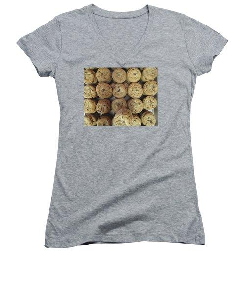 Lotta Cookies Women's V-Neck T-Shirt (Junior Cut) by Kevin Caudill