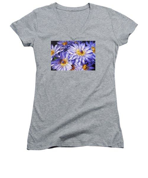 Lotus Light - Hawaiian Tropical Floral Women's V-Neck T-Shirt (Junior Cut) by Karen Whitworth