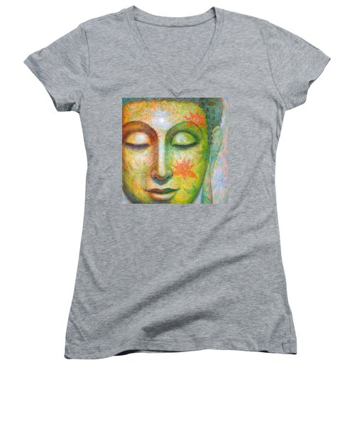 Lotus Meditation Buddha Women's V-Neck T-Shirt (Junior Cut) by Sue Halstenberg