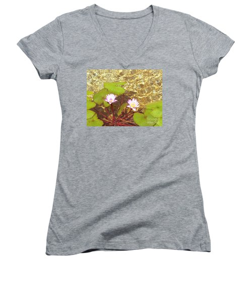Women's V-Neck T-Shirt (Junior Cut) featuring the photograph Lotus by Mini Arora