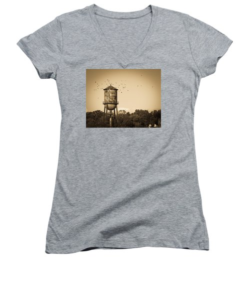 Loudon Water Tower Women's V-Neck T-Shirt (Junior Cut) by Melinda Fawver