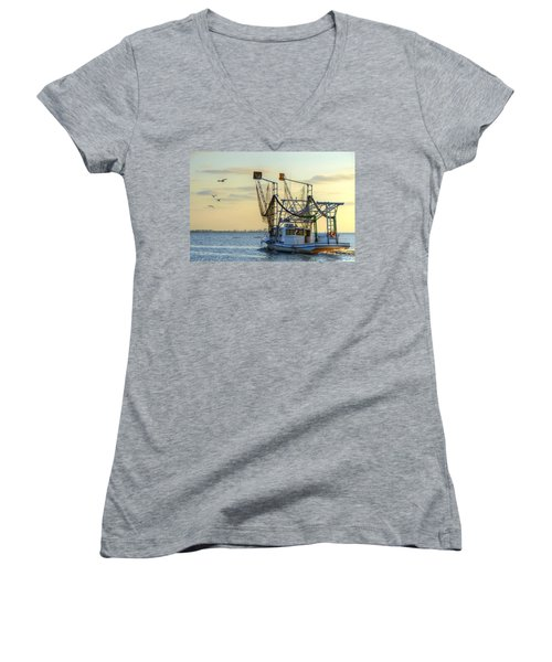 Louisiana Shrimping Women's V-Neck T-Shirt (Junior Cut) by Charlotte Schafer