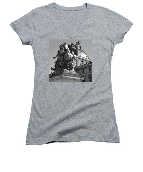Louvre Man On Horse Women's V-Neck T-Shirt (Junior Cut) by Cheryl Miller