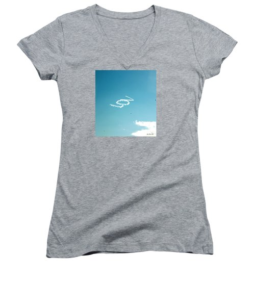 Women's V-Neck T-Shirt (Junior Cut) featuring the photograph Lov In The Air  by Lorna Maza