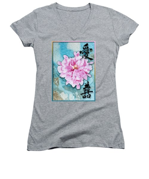 Women's V-Neck T-Shirt (Junior Cut) featuring the mixed media Love Double Happiness With Red Peony by Peter v Quenter