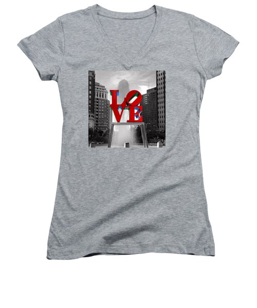 Love Is Always Black And White Square Women's V-Neck T-Shirt