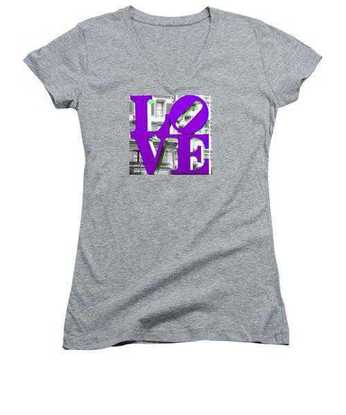 Love Philadelphia Purple Women's V-Neck T-Shirt (Junior Cut) by Terry DeLuco