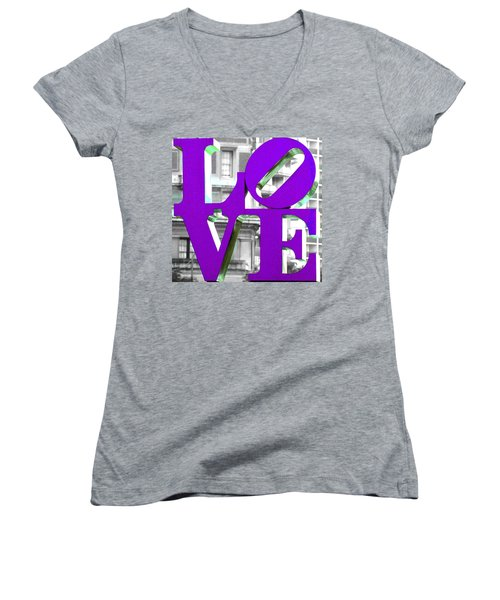 Love Philadelphia Purple Women's V-Neck