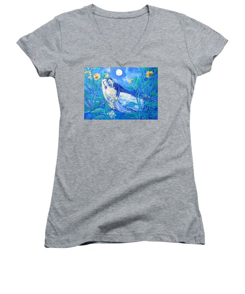 Lovers And Sunflowers  After Marc Chagall  Women's V-Neck T-Shirt