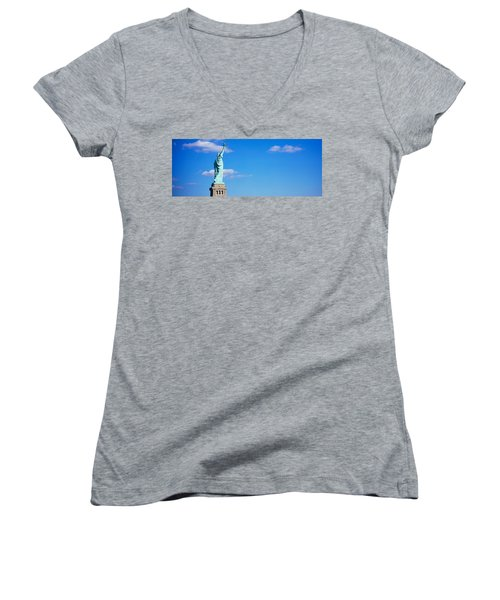 Low Angle View Of A Statue, Statue Women's V-Neck (Athletic Fit)