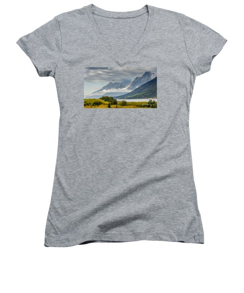 Low Clouds On The Teton Mountains Women's V-Neck T-Shirt (Junior Cut) by Debra Martz