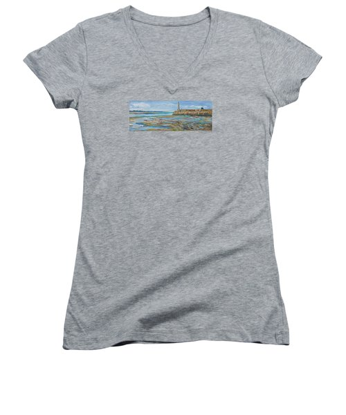 Low Tide In The Harbour. Women's V-Neck
