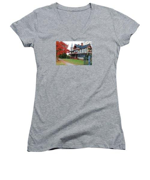 Lowenstein-henkel House Women's V-Neck T-Shirt (Junior Cut) by Cynthia Guinn