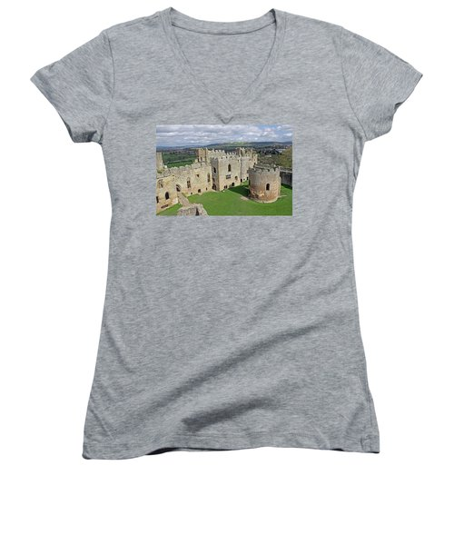 Ludlow Castle Chapel And Great Hall Women's V-Neck T-Shirt (Junior Cut) by Tony Murtagh