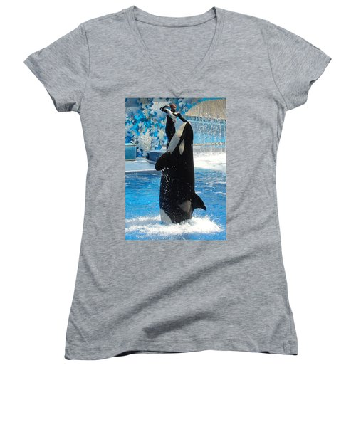 Women's V-Neck T-Shirt (Junior Cut) featuring the photograph Lump In The Throat Time by David Nicholls