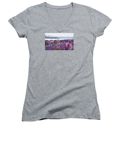 Women's V-Neck T-Shirt (Junior Cut) featuring the photograph Lupins At Tekapo by Nareeta Martin