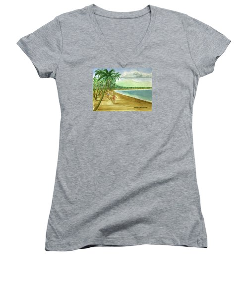 Luquillo Beach And El Yunque Puerto Rico Women's V-Neck T-Shirt (Junior Cut) by Frank Hunter