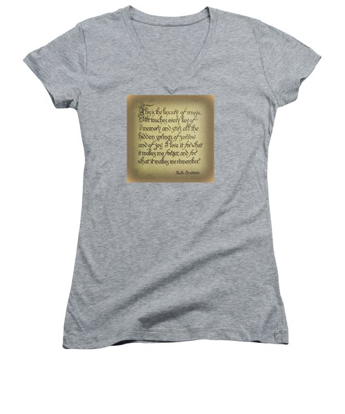 Luxury Of Music Women's V-Neck T-Shirt (Junior Cut) by Jodie Marie Anne Richardson Traugott          aka jm-ART