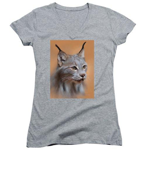 Lynx Portrait Women's V-Neck T-Shirt