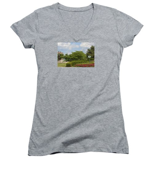 Lytle Park Cincinnati Women's V-Neck T-Shirt (Junior Cut) by Kathy Barney