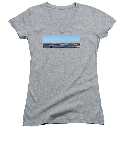 Women's V-Neck T-Shirt (Junior Cut) featuring the photograph M Bridge Memphis Tennessee by Barbara Chichester