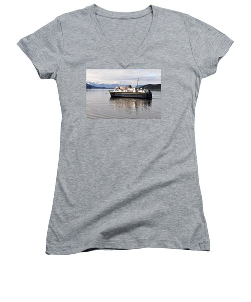 Women's V-Neck T-Shirt (Junior Cut) featuring the photograph M/v Leconte by Cathy Mahnke
