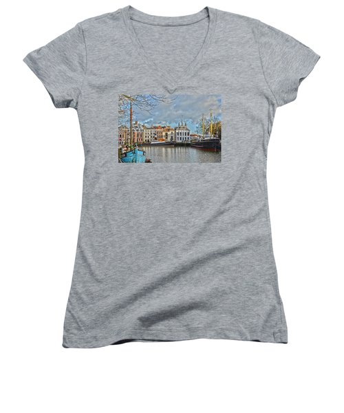 Maassluis Harbour Women's V-Neck T-Shirt (Junior Cut) by Frans Blok