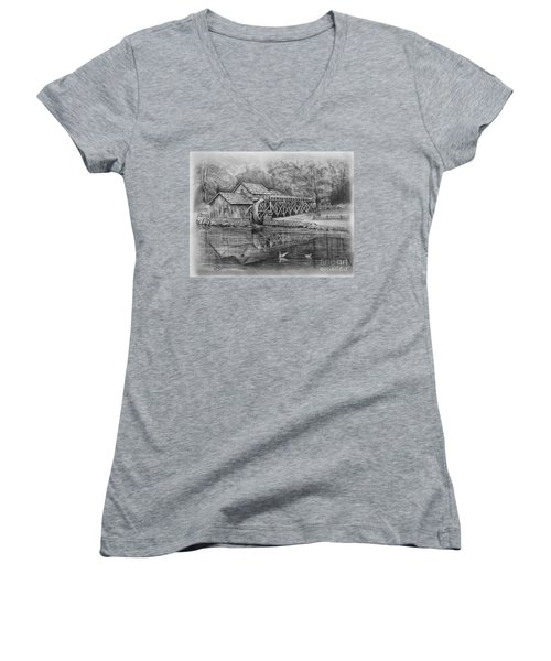 Mabry Mill Pencil Drawing Women's V-Neck (Athletic Fit)