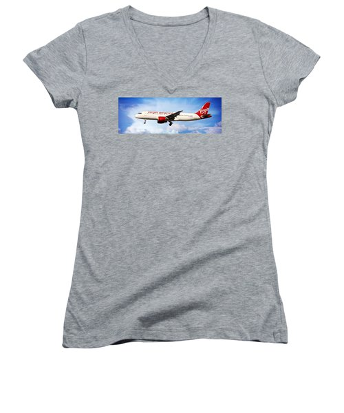 Aaron Berg Women's V-Neck T-Shirt (Junior Cut) featuring the photograph Virgin America Mach Daddy - Rare by Aaron Berg