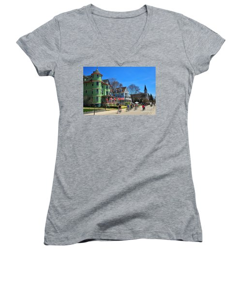 Mackinac Island Waterfront Street Women's V-Neck T-Shirt (Junior Cut) by Terri Gostola