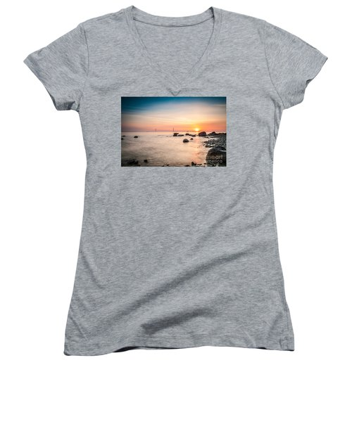 Women's V-Neck T-Shirt (Junior Cut) featuring the photograph Mackinac Sunrise by Larry Carr