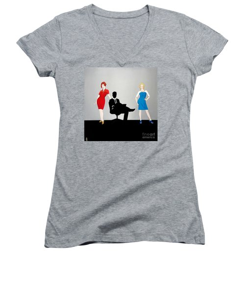 Mad Men In Technicolor Women's V-Neck (Athletic Fit)