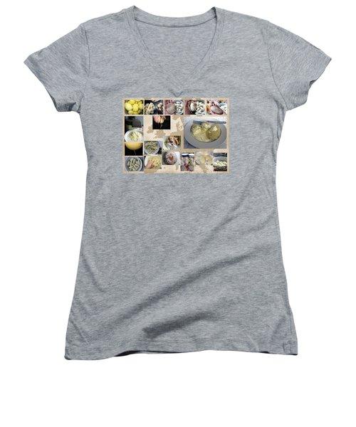 Women's V-Neck T-Shirt featuring the photograph Made In Lithuania... Cepelinai- Potato Dumplings by Ausra Huntington nee Paulauskaite