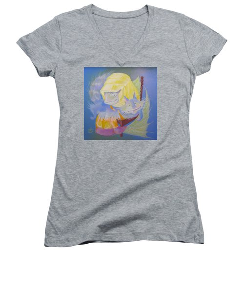 Women's V-Neck T-Shirt (Junior Cut) featuring the painting Madonna With A Cat by Marina Gnetetsky