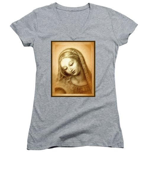 Madonna With The Dove Face Women's V-Neck T-Shirt (Junior Cut) by Ananda Vdovic
