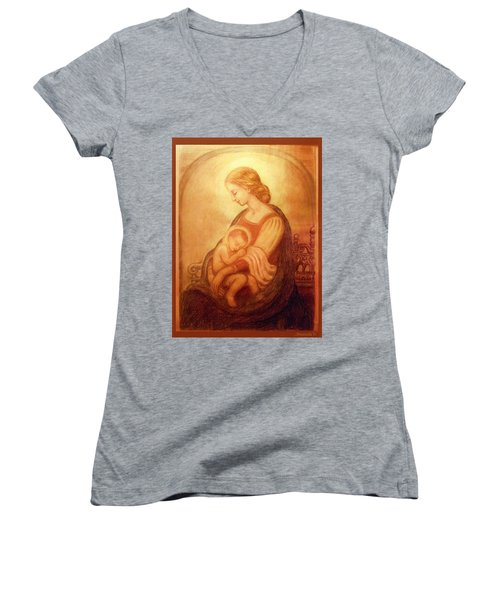 Madonna With The Sleeping Child Women's V-Neck T-Shirt (Junior Cut) by Ananda Vdovic