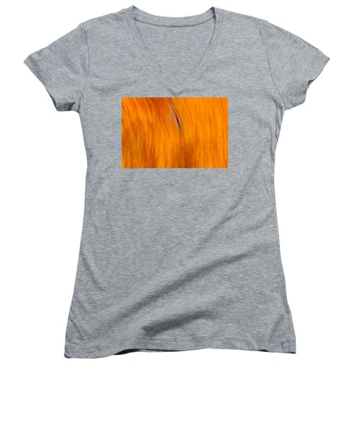 Maelstrom Of Fall Colors Women's V-Neck T-Shirt (Junior Cut) by Jeff Folger