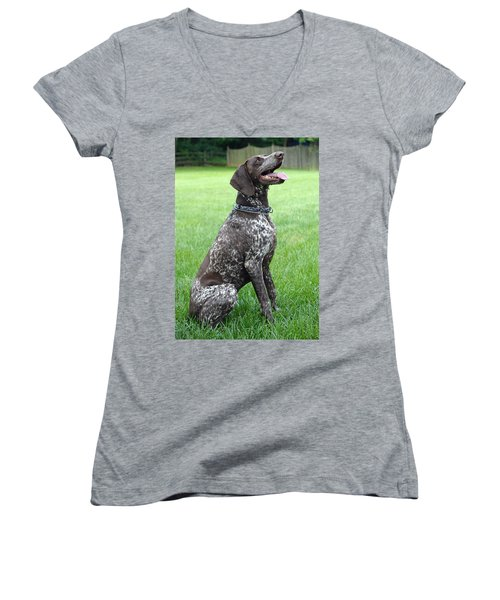 Women's V-Neck T-Shirt (Junior Cut) featuring the photograph Maggie by Lisa Phillips