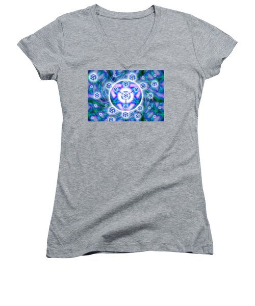 Women's V-Neck T-Shirt (Junior Cut) featuring the drawing Magnetic Fluid Harmony by Derek Gedney