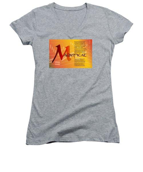 Magnificat Women's V-Neck T-Shirt (Junior Cut) by Chuck Mountain